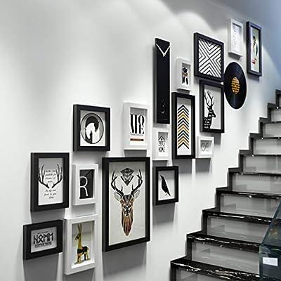 Marcos de cuadros Decoración de pared Kits de marcos de galería 18 piezas Con dibujos de instalación Accesorios para niños Casa Escalera Sala de estar Dormitorio Sala de estar Decoración del hogar: