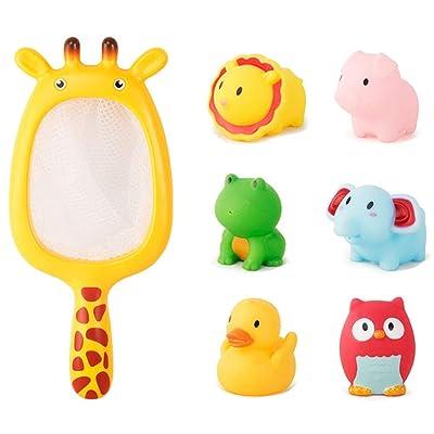 Maserfaliw 4/7Pcs Lion Owl Animal Dolls Fishing Net Water Spray Interactive Kids Bath Toys Animal 6: Beauty