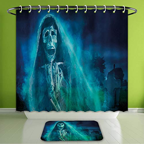 Waterproof Shower Curtain and Bath Rug Set Halloween Decorations by Gothic Dark Background with A Dead Ghost Skull Skeleto Bath Curtain and Doormat Suit for Bathroom Extra Long Size 72