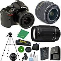 Nikon D5200 24.1 MP CMOS Digital SLR, NIKKOR 18-55mm f/3.5-5.6 Auto Focus-S DX VR, Nikon 70-300mm f/4-5.6G Auto Focus Nikkor, Tripod, 6pc Cleaning Set