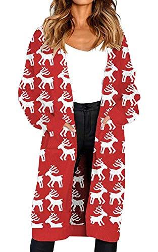 Oversize Loose Casual Ugly Christmas Reindeer Elk Cardigan Sweater Outwear Coat]()