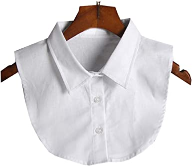 Clásico Camisa Blanca Escote Mitad Camisa Falso Collar Cuello Falso de Moda, Blanco
