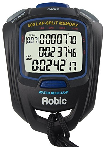 Robic SC-757W 500 Dual Memory Stopwatch, Black/Blue by Robic
