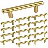 3 inch dresser drawer pulls - Homdiy 3in Brushed Brass Cabinet Pulls Modern Gold T bar Kitchen Cabinet Door Handles and Drawer Knobs 15 Pack