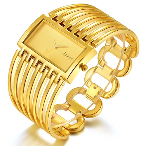 Women Luxury Gold Bangle Watch Fashion Stainless Automatic Watch Designer Cuff Bracelet ()