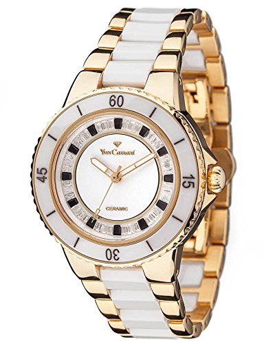 Yves Camani Sienne Ladies Watch White/Gold Ceramic/Stainless Steel White Dial Crystals YC1051-D