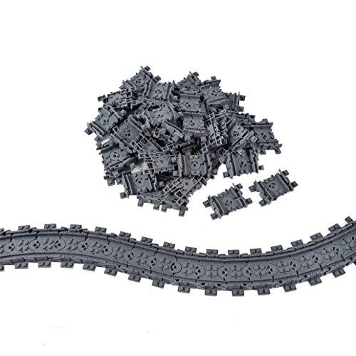 (50X Flexible Tracks Railroad Train Track Non-Powered Rail Compatible Major Brand Construction Block Toy)