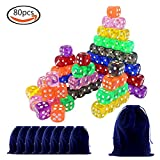 LoveS 80Pcs 16 mm 6-Sided Rounded Corners Dice Set, 8 Different Colors,8 Dice Pouches & 1 Large Velvet Bag