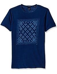 Scotch & Soda Men's Indigo Placement Print Tee in Rich Slubby Fabric and Standar