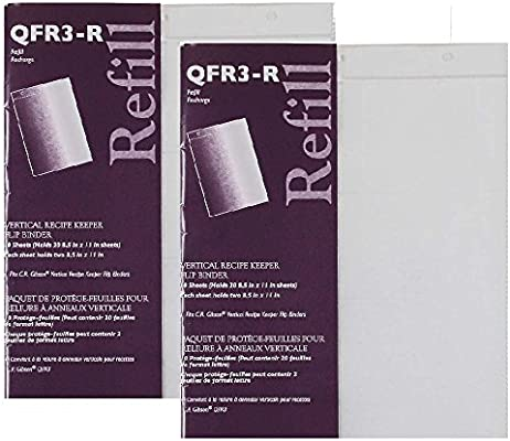 2 pack Gibson 10 Count Refill for Vertical Flip Recipe Keeper C.R