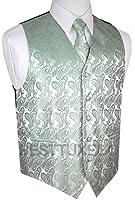Brand Q Men's Tuxedo Vest, Tie & Pocket Square Set in Sage Paisley