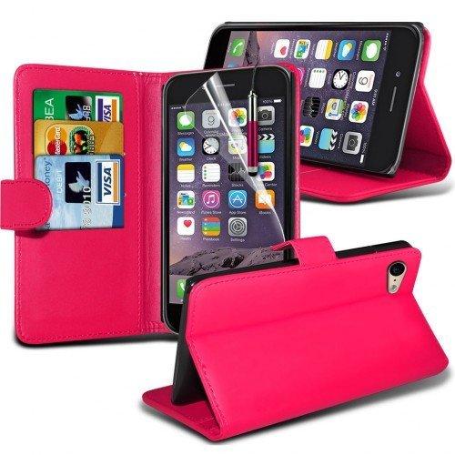 Apple iPhone 6S Plus Cubierta del caso con cuero (Rosa caliente) Plus de regalo libre, Protector de pantalla y un lápiz óptico, Solicitar ahora mejor caja del teléfono Valorado en Amazon! By FinestPho