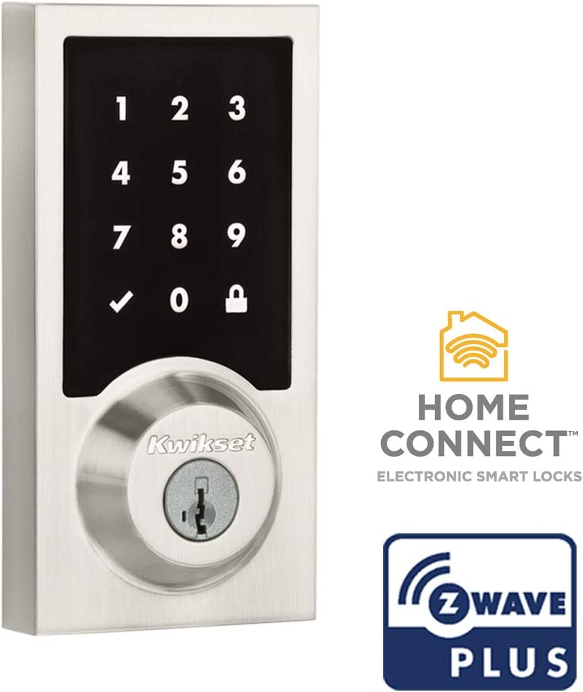 Kwikset 99160-016 SmartCode 916 Modern Contemporary Touchscreen Smart Lock Deadbolt featuring SmartKey Security and Z-Wave Plus, Satin Nickel