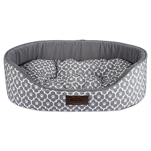- Bone Dry CAMZ37302 DII Lattice Pet Bed 20X28X8 Modern & Fashionable Oval Bed for Dogs Or Cats-Gray, Medium, Oval Lattice Gray Pet Bed