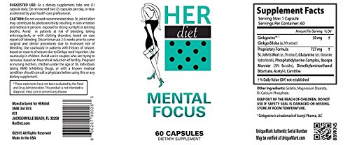 HERdiet Mental Focus for Women Extra Strength Supplement with Cognitive Brain Boosters Like Nootropics Increase Clarity Memory Booster Productivity