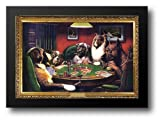 Dogs Playing Poker 40x28 Framed Art Print by Coolidge, Cassius Marcellus