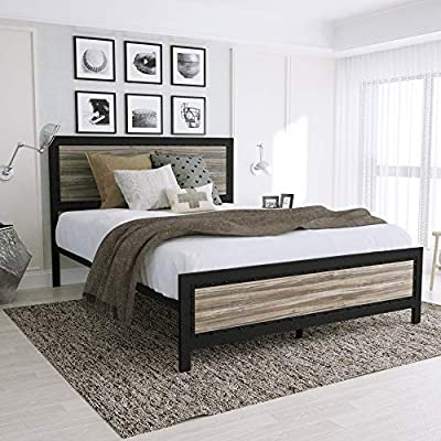 Amooly Queen Metal Bed Frame with Wood Headboard Platform Bed Frame/Strong Slat Support/Easy Assembly/No Box Spring Required