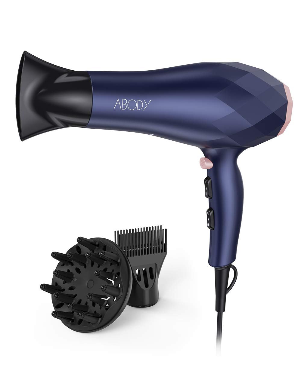 Abody 1875W Professional Hair Dryer, Negative Ion Blow Dryer 2 Speed and 3 Heat Setting, Quick Dry Light Weight Low Noise Hair Dryers with Diffuser & Concentrator & Comb