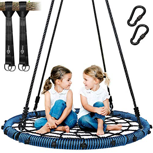 (Trekassy 660lb Spider Web Swing 40 inch for Tree Kids with Steel Frame and 2 Hanging)