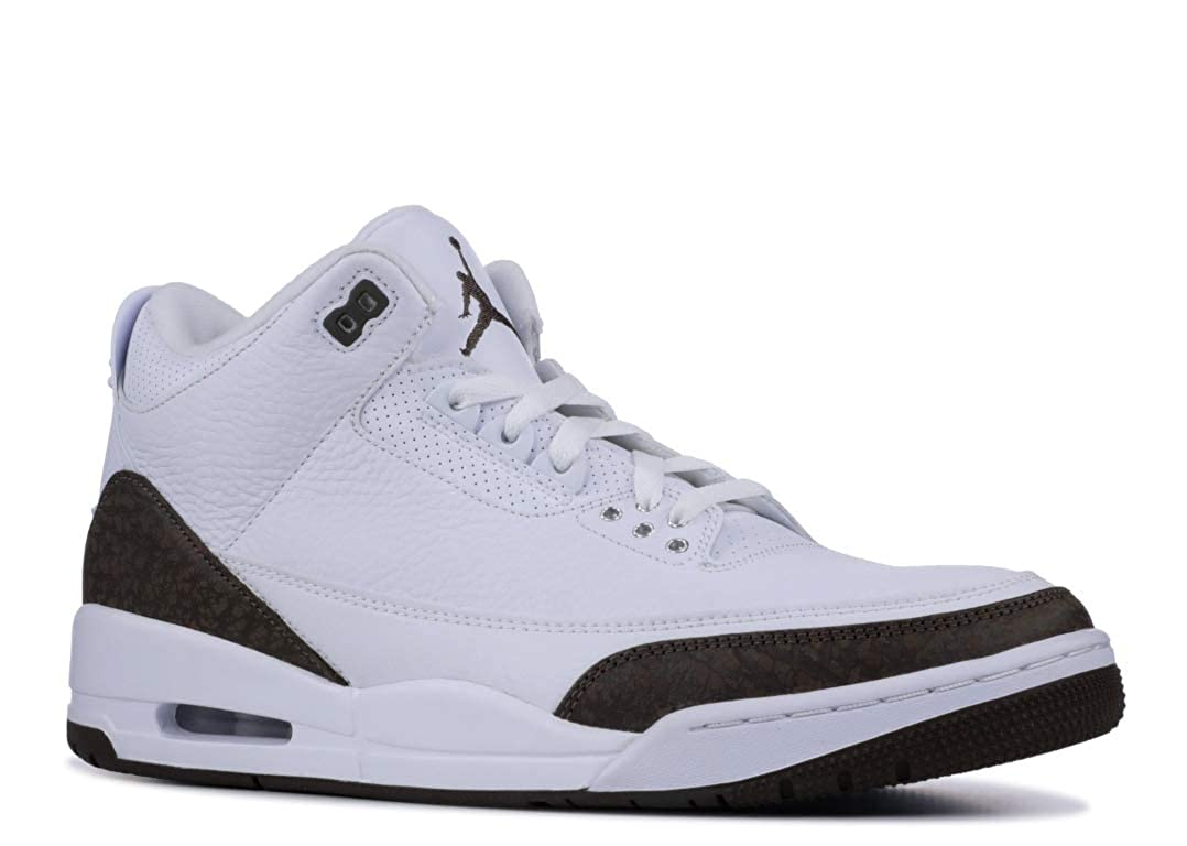 White, dark mocha-chrome Nike Men's Air Jordan 5 Retro Basketball shoes