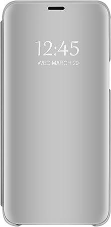 Funda para Samsung Galaxy J6 Plus Transparente Transparente Funda Transparente Ultrafina Cristal Ventana Espejo Folio Flip Cover para Samsung Galaxy J6 Plus (2, Samsung Galaxy J6 Plus): Amazon.es: Electrónica