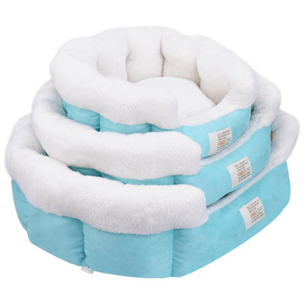 bluee TTLIFE Candy color three-piece kennel VIP pet nest teddy bear puppy dog bed (bluee)