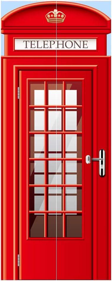 Alwayspon Modern Art Phonebooth 3D Door Sticker, Peel and Stick Vinyl Door Mural Decals for Home Decor, 30.3x78.7(77x200cm), 2 Pcs Set