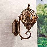 CGJDZMD Wall Sconce Modern IP44 Rated Bronze Stainless Steel Metal Wall Lamp & Clear Glass Fisherman's Lantern Cage Outdoor Wall Light, E27 Socket, (Not Include Bulb)