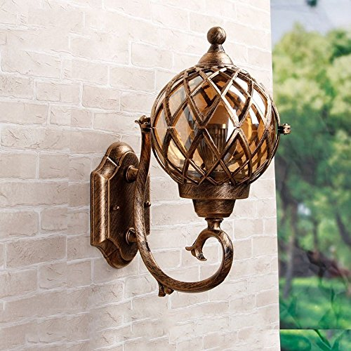 CGJDZMD Wall Sconce Modern IP44 Rated Bronze Stainless Steel Metal Wall Lamp & Clear Glass Fisherman's Lantern Cage Outdoor Wall Light, E27 Socket, (Not Include Bulb) by CGJDZMD