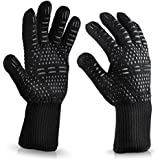 BBQ Cooking Gloves,932℉ Extreme Heat Resistant BBQ Grill Oven Cooking Gloves Long Size for Barbecue Cooking Baking Oven Mitts (Black)