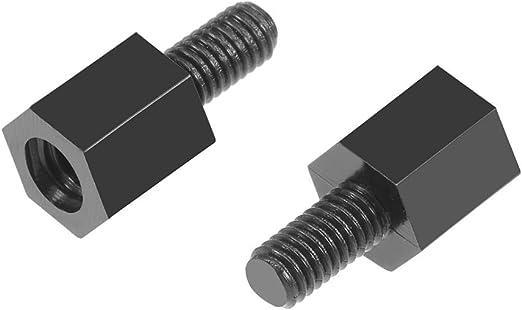 100pcs M3 x 8 6mm Nylon Hexagonal Pillar Female and Male Standoff Spacer Black