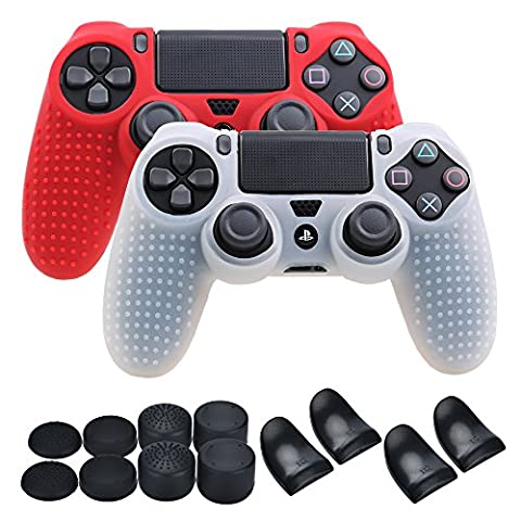 YoRHa Studded Silicone Cover Skin Case for Sony PS4/slim/Pro controller x 2(white+red) With Pro thumb grips x 8 & trigger extender x (Ps4 Extender Thumb Sticks)