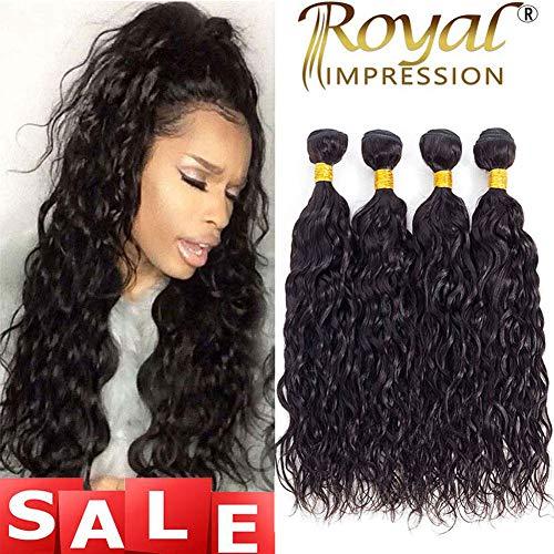 10A Brazilian Natural Wave Hair 4 Bundles Brazilian Virgin Water Wave Human Hair Bundles 100% Unprocessed Remy Virgin Ocean Wave Hair Bundles Natural Color (20 22 24 26)