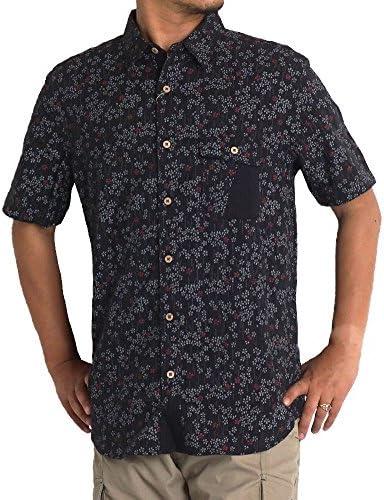 シャツ メンズ 大きいサイズ 半袖 紳士 シアサッカー ゆったり 花柄 和柄 しじら 浮雲 2L 3L 4L 5L