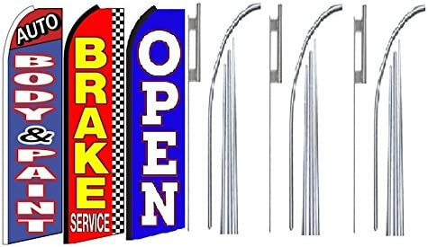 Pack of 3 Auto Body /& Paint Brake Service Open King Swooper Feather Flag Sign Kit with Pole and Ground Spike