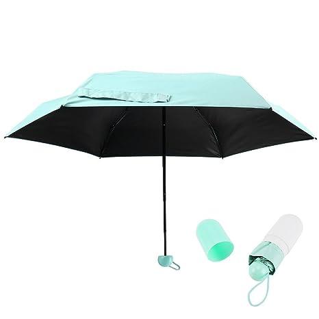 Enjoygoeu Mini Paraguas de Viaje Plegable Secado Compacto Ultraligero Impermeable Protector del Sol Lluvia 210T Cápsulas