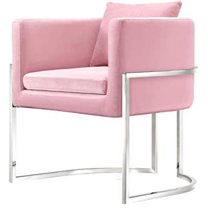 Pink Velvet Chair Dining Chair Upholstered Stainless Steel Legs Chrome Elegant Living Room Wingback Modern Contemporary  sc 1 st  Amazon.com & Amazon.com - Pink Velvet Chair Dining Chair Upholstered Stainless ...