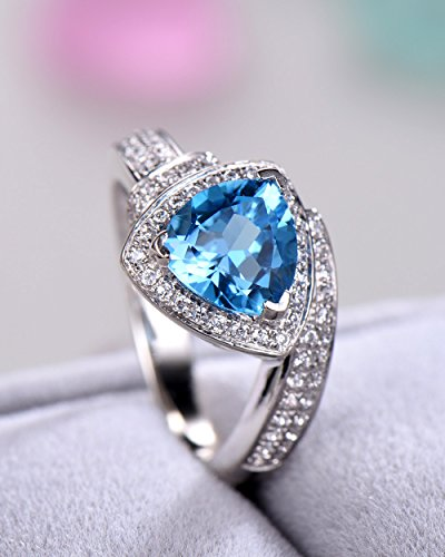 Blue Topaz Wedding Ring Trillion Cut 925 Sterling Silver White Gold CZ Diamond Halo Unique Engagement Set by Milejewel Topaz Engagement Ring (Image #1)