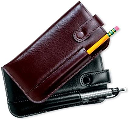 soft leather with snap closure. Leather pencil case