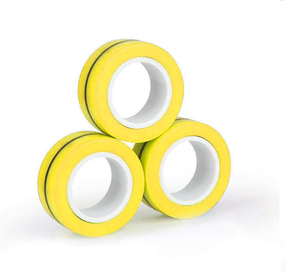 CoutureBridal Finger Magnetic Rings Fidget Unzip Toy, Decompression Magic Bracelet Ring, Magical Ring Props Tools, Magnetic Finger Spinner Rings for Kids and Adults(3pcs) (Yellow): Toys & Games