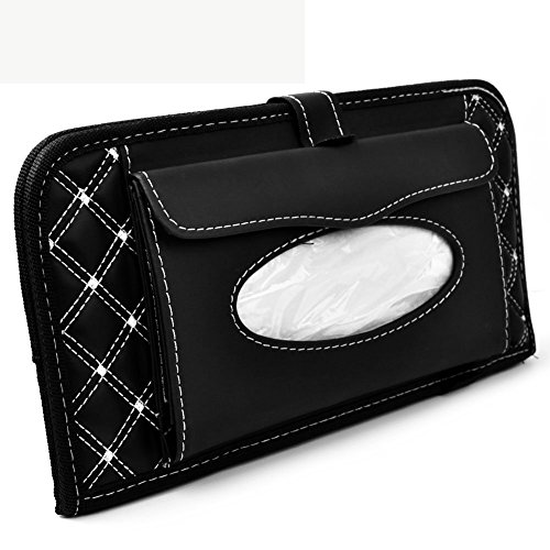 CD Visor Organizer,Car Sun Visor Tissue Bag Multi Function Double-deck Auto Extra Car Vehicle Pocket ,CD Holder Visor with Tissue Holder,16 Cd/dvd Slots Stored Safely CD Storage Cases for Car (Fs Tissue Holder)