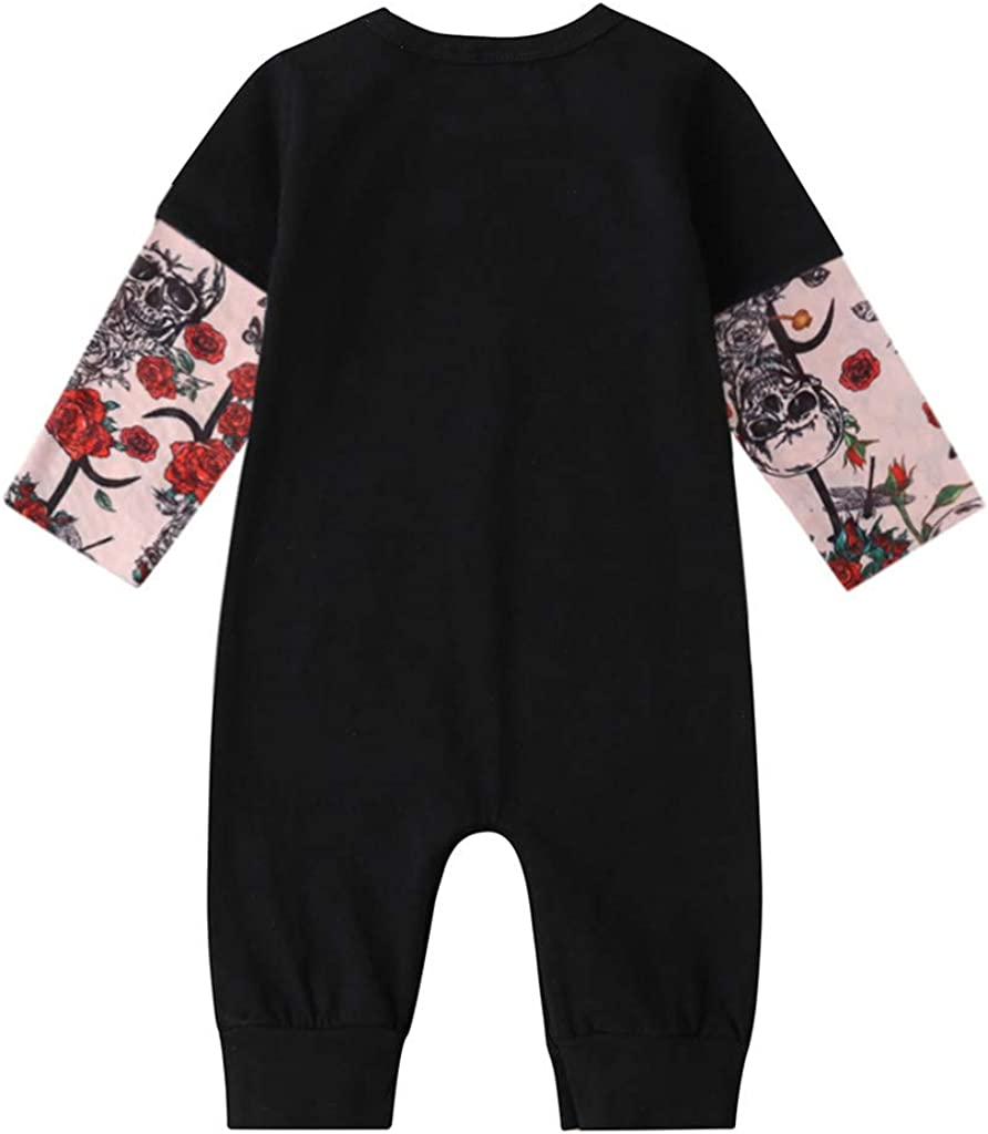 Gornorriss Baby Rompers Newborn Infant Girls Floral Print Patchwork Jumpsuit Outfits