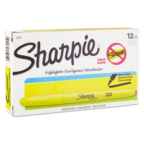 Sharpie Accent Pocket Style Highlighters, Chisel Tip, Fluorescent Yellow, 36-Count