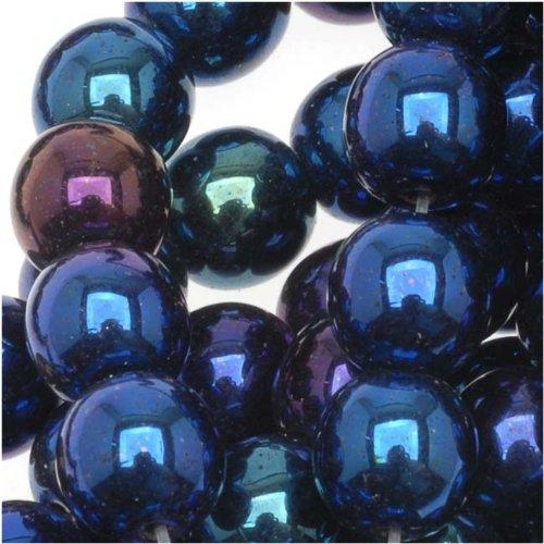 Jablonex Czech Glass Druk Round Beads (50 Pack), 6mm, Blue Iris (Czech Glass 6mm Druk Beads)