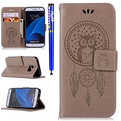 Samsung Galaxy S7 Wallet Case,Samsung Galaxy S7 leather Sleeve Cover,EUWLY 3D Owl Dreamcatcher Embossing Ultra Slim Leather Flip Stand Case Cover Shockproof Magnetic Bookstyle Strap Wallet Case Cover Gray