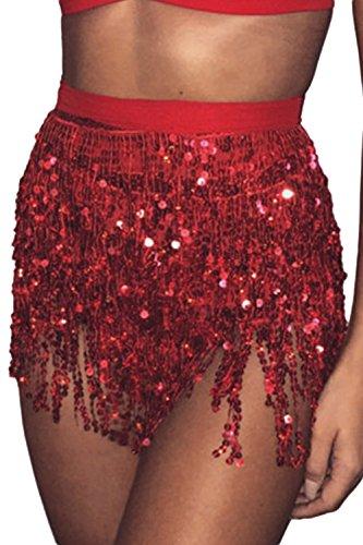 Brille Paillettes Jupe Tassel Femmes Mini Les Red Partie Dance Paillettes q5tF4xw8