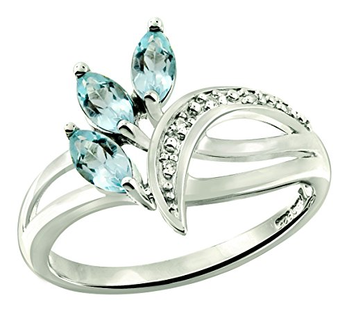 RB Gems Sterling Silver 925 Ring GENUINE GEMSTONE 0.84 Carat with RHODIUM-PLATED Finish (7, blue-topaz)