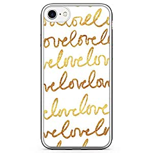 iPhone 7 Transparent Edge Phone Case Love Doodle Phone Case Love Phone Case Gold Phone Case White