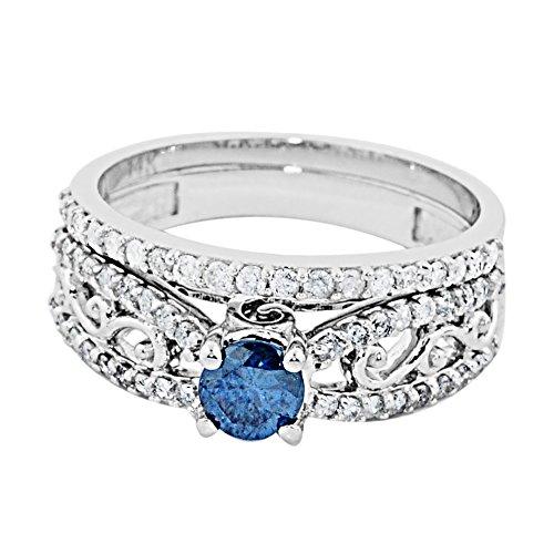Blue Diamond Bridal Ring set Vintage 10K White Gold 0.8ctw Diamonds 7mm Wide 2pc set