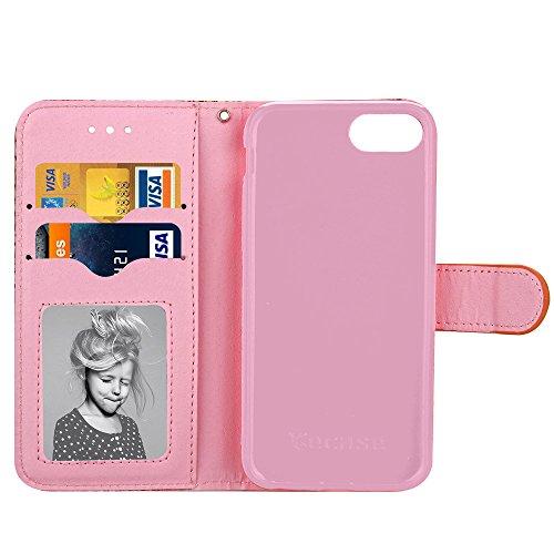 JIALUN-carcasa de telefono Cubierta de la caja del iPhone 7, caja del tirón del patrón del enrejado cuadrado cubierta de TPU con la cuerda y marco de la cartera y de la foto para Apple IPhone 7 ( Colo Rose